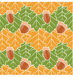 seamless pattern with oak leaves and acorns vector image