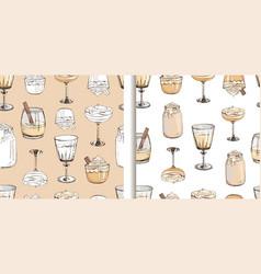 set hand drawn seamless patterns vector image