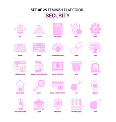 set of 25 feminish security flat color pink icon vector image