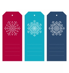 Set of christmas tags with geometric snowflakes vector image