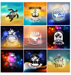 set summer travel and vacation designs vector image