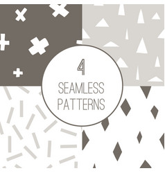 set with 4 simple minimalistic seamless patterns vector image