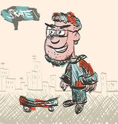 Skate Man Sketch vector