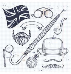 sketch british elements vector image