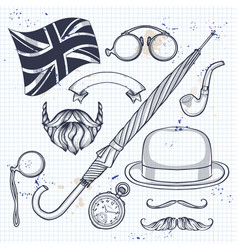 sketch of british elements vector image