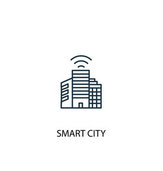 smart city concept line icon simple element vector image