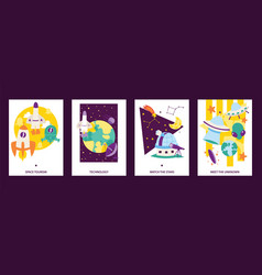 Space science cards set flying rockets space vector