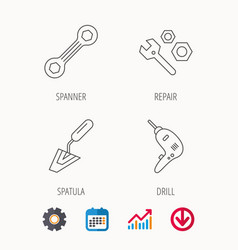 Spanner repair tool spatula and bolt icons vector