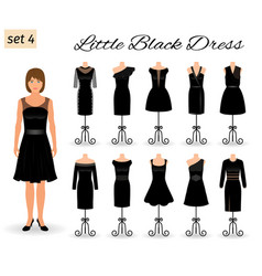stylich woman character in little black dress set vector image vector image