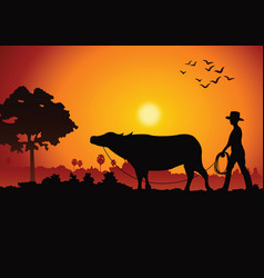 Sunset landscape and country life with a man lead vector