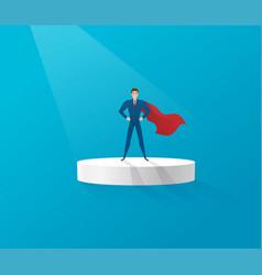 Superhero businessman standing on a platform vector
