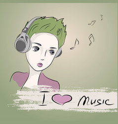 Teenager girl listening to music with headphones vector