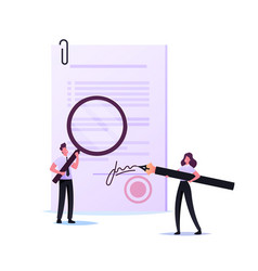 tiny woman notary or lawyer signing document with vector image