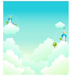Tower in clouds vector