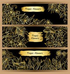 tropical flowers mock up banner set vector image