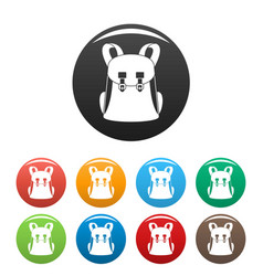 Universal backpack icons set color vector