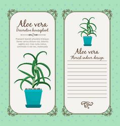 Vintage label with aloe vera plant vector