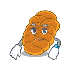 Waiting challah mascot cartoon style vector