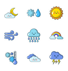 Weather dilemma icons set flat style vector