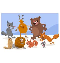 Wild cartoon animal characters vector