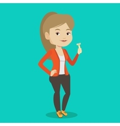 Woman holding razor in hand vector