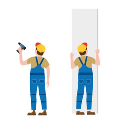 Workers with a screwdriver installing gypsum vector