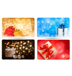 Collection of Christmas backgrounds with gift box vector image vector image