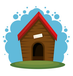cute dog house icon vector image
