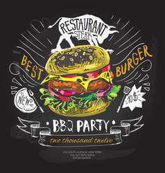 fast food logo design template hamburger vector image vector image