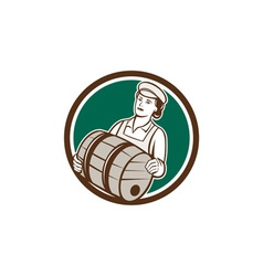 Female Bartender Carrying Keg Circle Retro vector image vector image