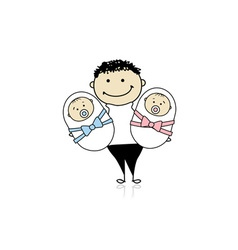 Happy father with newborn twins vector image vector image