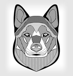 malamute hound head black and white drawing on vector image vector image