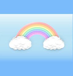 pastel colors rainbow and clouds vector image