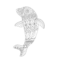 Patterned dolphin zentangle style vector image