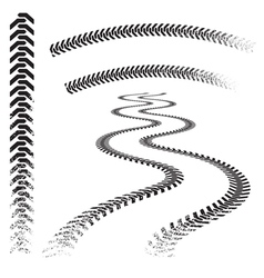 set of high quality grunged tire tracks vector image