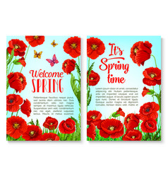 spring season floral greeting card template vector image