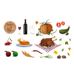 autumn and thanksgiving cartoon colored icons set vector image