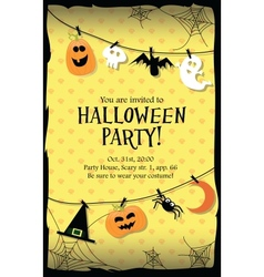 Halloween party invitation card long vector image vector image