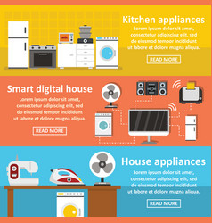 house appliance banner horizontal set flat style vector image vector image