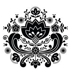 Norwegian folk art Bunad black pattern vector image