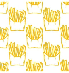 Seamless pattern of boxes of French fries vector image vector image