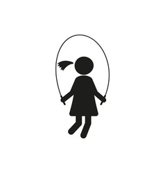Silhouettes girl jumping rope stick figure vector