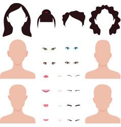 woman face parts lips eyes and hair vector image
