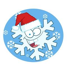 Cartoon Snowflake Character With Santa Hat vector image