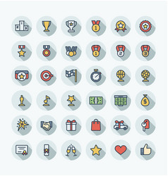 flat color thin line icons set with award vector image vector image