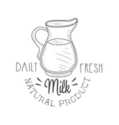 Natural product fresh milk product promo sign in vector