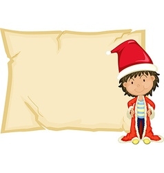 Paper template with boy in santa hat vector image vector image