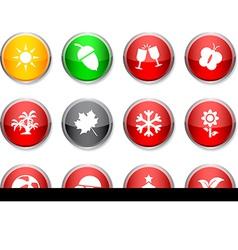 Seasons round icons vector
