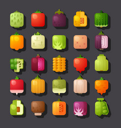 square shaped vegetables icon set vector image