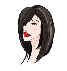 beautiful with black hair young girl vector image
